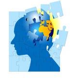 Mundo de asalto de la mente del rompecabezas del cerebro Imágenes de archivo libres de regalías