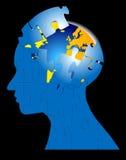 Mundo de ataque da mente do enigma do cérebro Imagem de Stock