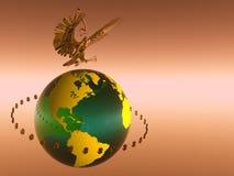 Mundo de circulação do dólar. Imagens de Stock
