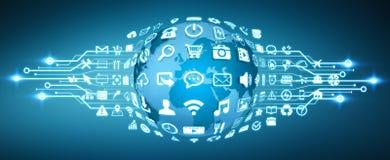 Mundo de Digitas com ícones da Web Imagem de Stock Royalty Free