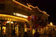 Mundo de Disney en la noche Imágenes de archivo libres de regalías