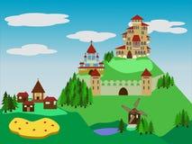Mundo de fantasía medieval stock de ilustración