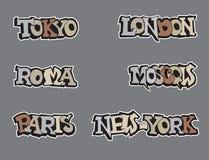 Mundo de la ciudad de los símbolos. Sistema del icono del viaje. Foto de archivo libre de regalías