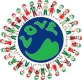 Mundo de la Navidad del amor de 32 cabritos Fotografía de archivo