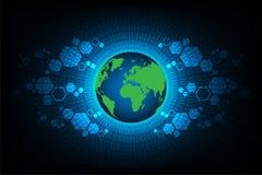 Mundo de la tecnología en un fondo azul marino Imagen de archivo