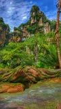 Mundo de los paisajes- del ` s de Pandora de Avatar en el reino animal del ` s de Disney Imagen de archivo