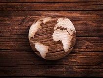Mundo de madeira Imagem de Stock Royalty Free