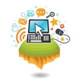 Mundo de ordenadores y del Internet Imagen de archivo libre de regalías
