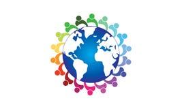Mundo de Team Work Logo Around The - negócio circular arredondado Team United Logo do molde do globo e do Team Work Union People  ilustração do vetor