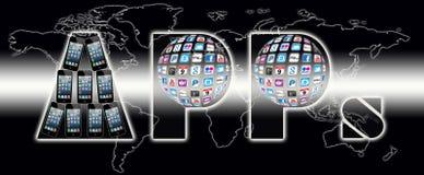 Mundo de uma comunicação de Apps imagem de stock royalty free