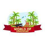 Mundo del cartel de dinosaurios Mundo prehistórico T-rex Período jurásico ilustración del vector