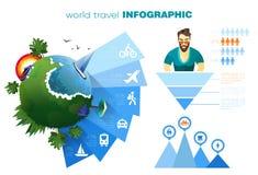 Mundo del concepto del infographics del viaje y de las vacaciones con los iconos simples y su texto Vector EPS 10, colores materi ilustración del vector