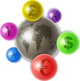 Mundo del dinero en circulación stock de ilustración