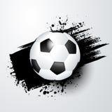 Mundo del fútbol o campeonato europeo con la bola y el chapoteo negro en el fondo Fotografía de archivo