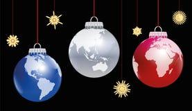 Mundo del globo de las bolas de la Navidad Fotos de archivo