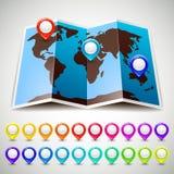 Mundo del mapa con la ubicación colorida de los indicadores del perno Foto de archivo libre de regalías