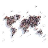 Mundo del mapa de la forma del grupo de la gente Imagen de archivo libre de regalías
