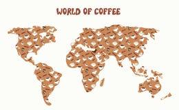 Mundo do café - mapa e tipos diferentes Foto de Stock Royalty Free