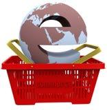 Mundo do comércio electrónico no cesto de compras ilustração royalty free