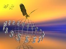 Mundo do dólar com a águia na parte superior. ilustração royalty free