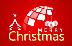 Mundo do globo e do Feliz Natal e cumprimento do projeto do texto no ícone colorido branco no fundo vermelho abstrato ilustração stock