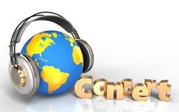 mundo do sinal do concerto 3d nos fones de ouvido Imagem de Stock