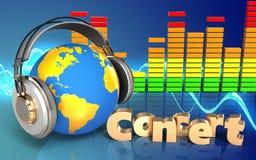 mundo do sinal do concerto 3d nos fones de ouvido Foto de Stock Royalty Free