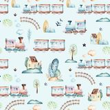 Mundo dos bebês Teste padrão locomotivo da ilustração da aquarela do avião, do plano e do vagão dos desenhos animados A criança b Foto de Stock Royalty Free