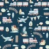 Mundo dos bebês Teste padrão locomotivo da ilustração da aquarela do avião, do plano e do vagão dos desenhos animados A criança b Imagem de Stock Royalty Free