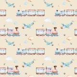 Mundo dos bebês Teste padrão locomotivo da ilustração da aquarela do avião, do plano e do vagão dos desenhos animados A criança b Imagens de Stock Royalty Free