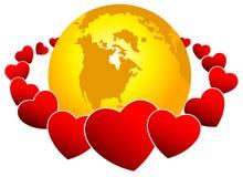 Mundo e corações Foto de Stock Royalty Free