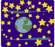 Mundo e estrelas (espaço) ilustração royalty free