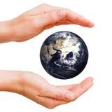 Mundo em minhas mãos Foto de Stock Royalty Free