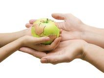 Mundo em sua mão agora Fotografia de Stock