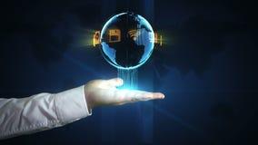 Mundo em suas mãos - dados de Digitas da rede em suas pontas do dedo vídeos de arquivo
