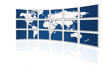 Mundo em telas da tevê ilustração do vetor