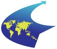 Mundo en flecha Fotos de archivo libres de regalías