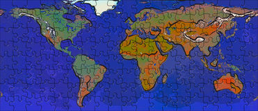 Mundo en rompecabezas Imagen de archivo