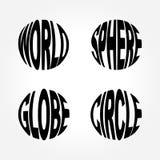 Mundo, esfera, globo, palabra Art Symbol del círculo Imagenes de archivo