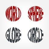 Mundo, esfera, globo, palabra Art Symbol del círculo Imagen de archivo libre de regalías