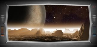Mundo estrangeiro como visto de uma janela da nave espacial ilustração stock