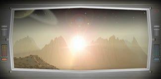 Mundo estrangeiro como visto de uma janela da nave espacial ilustração do vetor