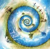 Mundo feliz do nautilus Ilustração do Vetor