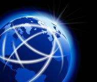 Mundo global com comunicações ao redor do mundo Foto de Stock