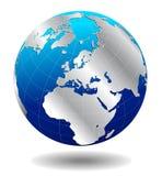 Mundo global de plata de Europa Foto de archivo