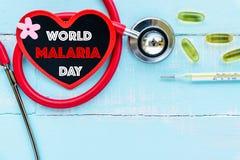 Mundo MALARIA día 25 de abril, atención sanitaria y concepto médico Imagen de archivo