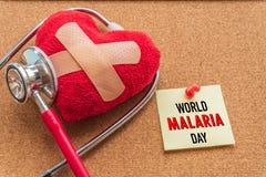 Mundo MALARIA día 25 de abril, atención sanitaria y concepto médico Imagenes de archivo
