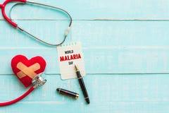 Mundo MALARIA día 25 de abril, atención sanitaria y concepto médico Fotografía de archivo libre de regalías
