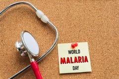 Mundo MALARIA día 25 de abril, atención sanitaria y concepto médico Fotos de archivo