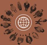Mundo mundial internacional de la comunidad global conectado ilustración del vector